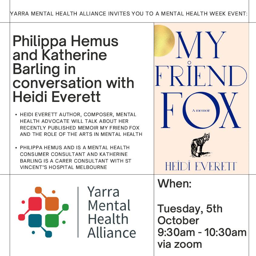 Yarra Mental Health Alliance – Mental Health Week Event